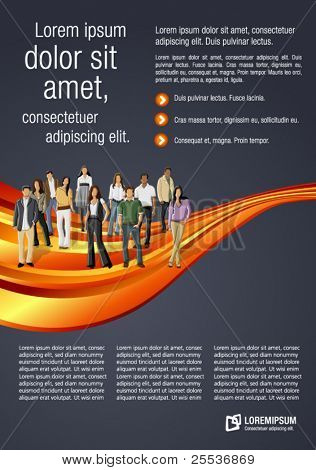Orange wave template for advertising brochure with business people