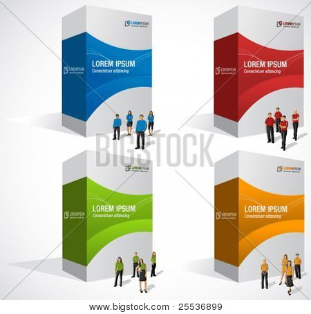 Colorful boxes with business people