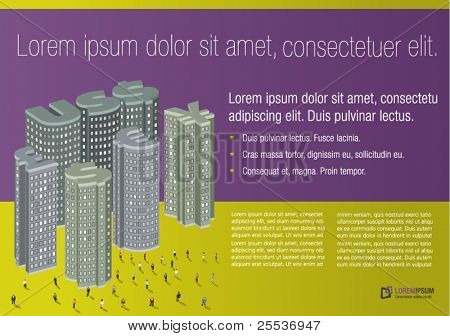 Purple and yellow template of money symbols city with business people for advertising brochure