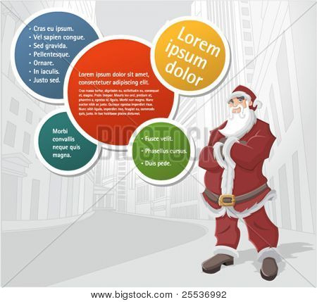 Template of Santa Claus in the city