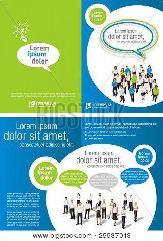 Grüne und blaue Vorlage für Werbebroschüre mit Geschäftsleute