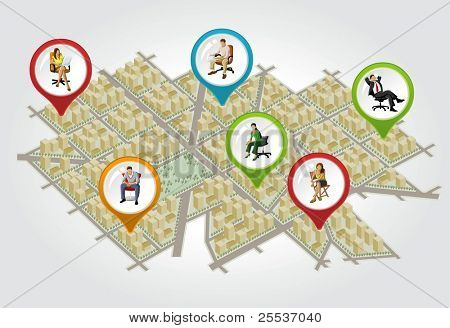 Isometric city map with colorful pointers with people on chair. Vector arrow label.
