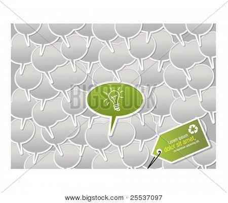 Speech balloon with green idea. One of a kind.