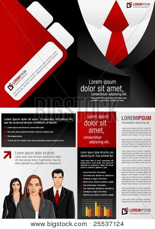 Suit with red tie template for advertising brochure with business people