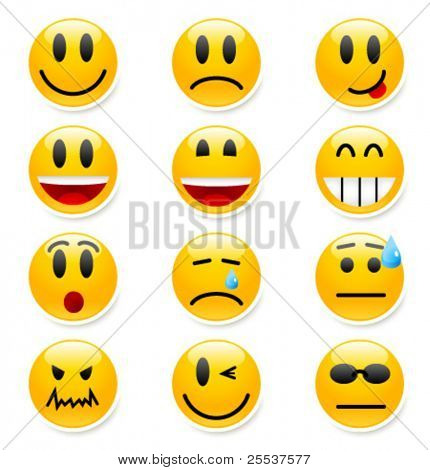 Big set of vector smile icons.