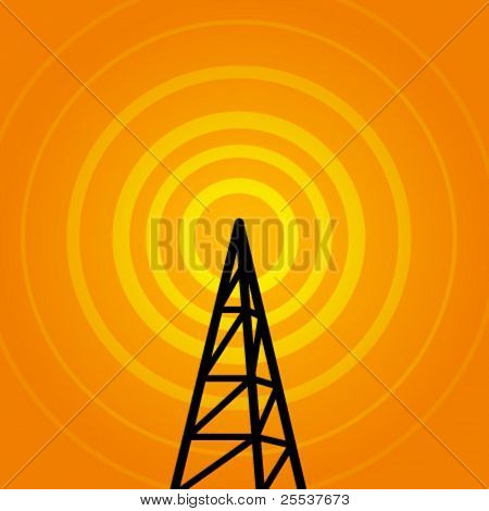 Vector background with radio signal