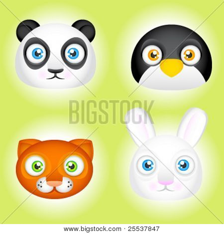 Vector cute animal faces. Panda, penguin, cat and bunny.