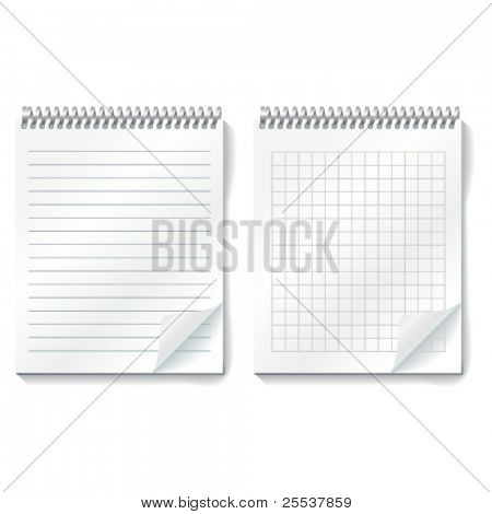 Vector realistic copybooks with cells and lines