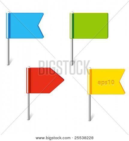 Vektor-Reihe von bunten Fahnen-pins