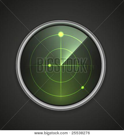 Icono de radar vector realista