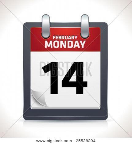 Vector calendar icon on February 14