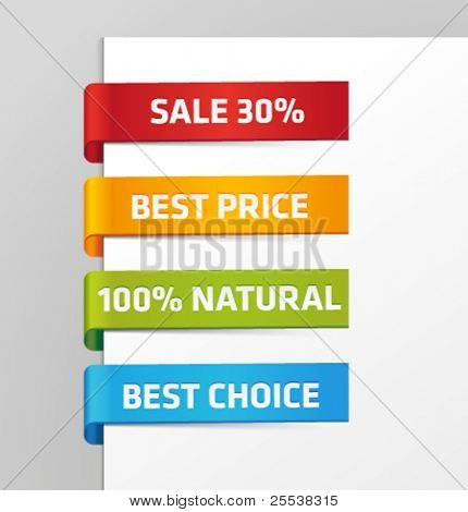 Vector set of glossy plastic tags