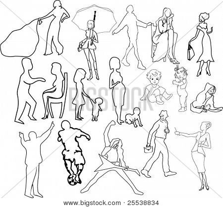 Set of different contours, silhouettes, images of people