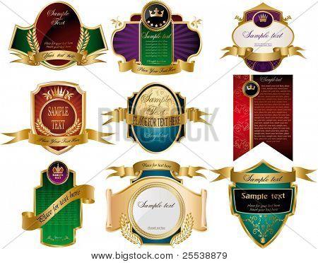 Sammlung von golden verzieren Etiketten