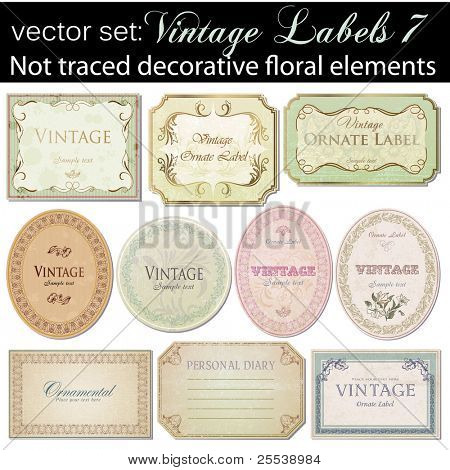 vector set: vintage labels 7