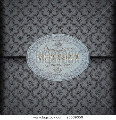 Seamless damask  pattern Background with Vintage Label