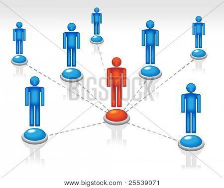 group of people connected Computer network among themselves and and the chief