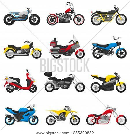 poster of Motorcycle Vector Motorbike And Motoring Cycle Ride Transport Chopper Illustration Motorcycling Set