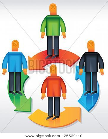 Men joining together to form one team in one direction. This format can be blown up to any size without loss of quality.