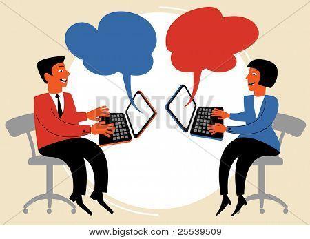 people talk over the internet.figure Communication concept