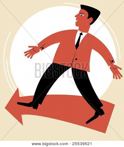 man goes in the direction of.figure business concept