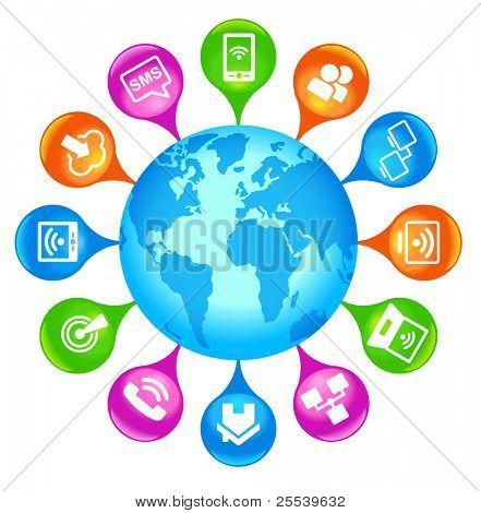 Communication Globe.the world of communication technologies