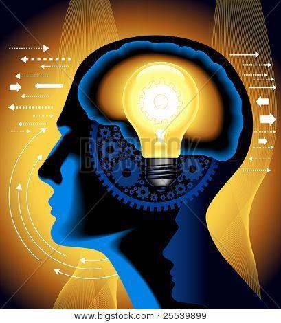 el concepto de la aparición de la lámpara de idea.shining con el cerebro