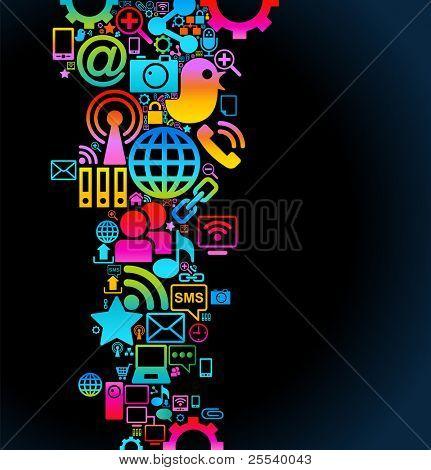 Vector de fondo de la red de informática social de los iconos