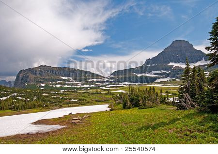 Meadows, Mountains, Snow, And Clouds
