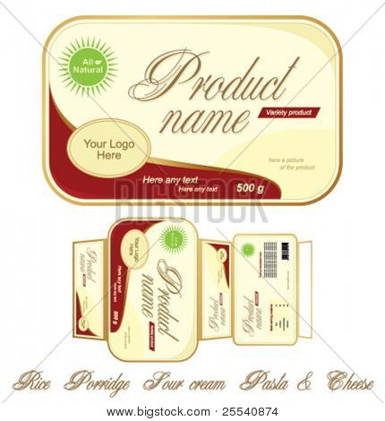 Templates design of food pack. Carton to put on the with vessel food. Full design and additional names of food.
