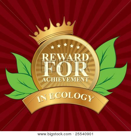Vector label. Reward for achievement in ecology.