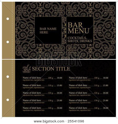 Vector. Vintage bar menu. Full design concept