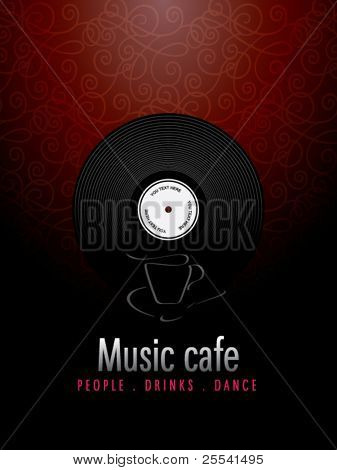 Music cafe, menu design.
