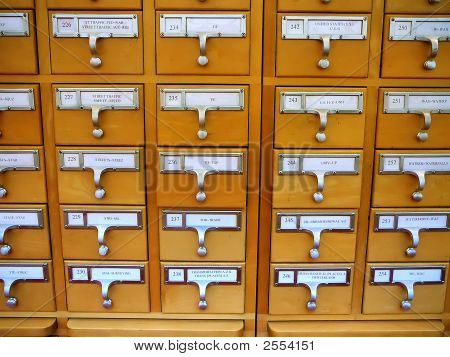 Card Catalog Cabinet In Academic Library