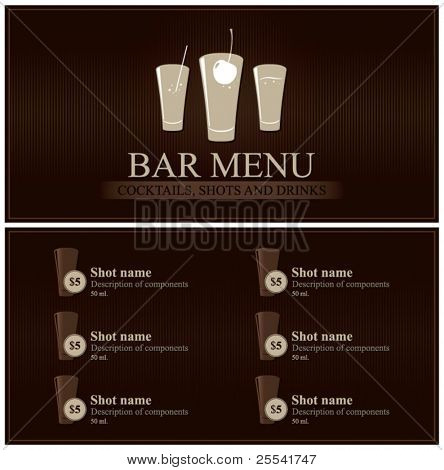 Vector. Bar menu. Full design
