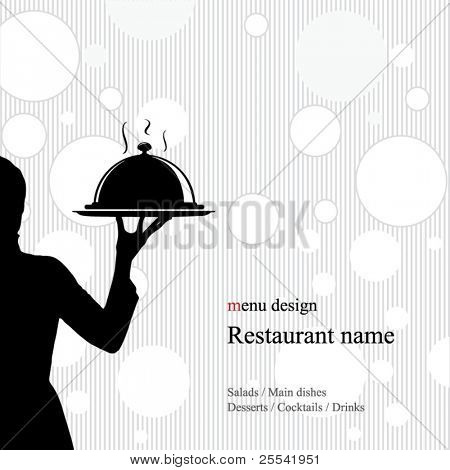 Restaurant menu design. With the silhouette of the girl's waiter
