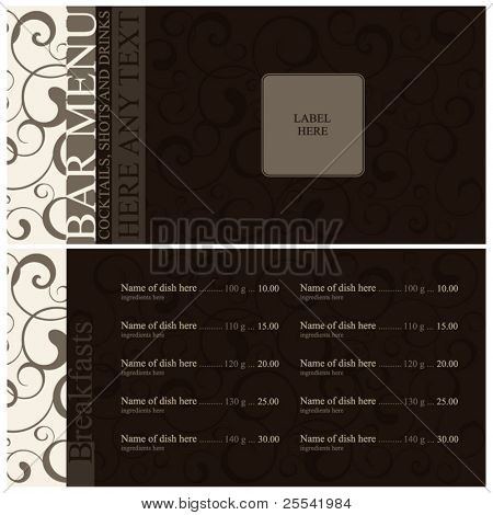 Bar menu design. Cover and inside page