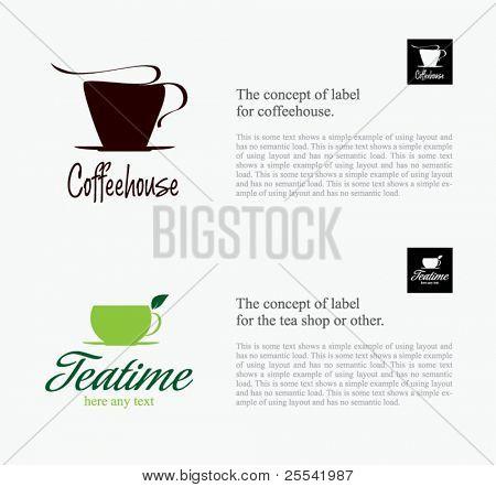 Label set for restaurant, cafe, bar, coffeehouse