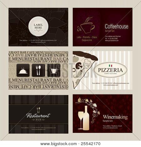 Satz von 6 detaillierte vertikale Visitenkarten. Café und restaurant