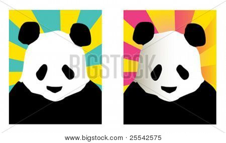 Panda, simple and version with gradient. Vector illustration.