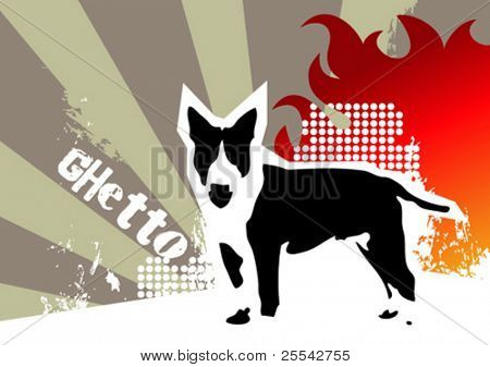 Ghetto background with dog. Vector illustration.