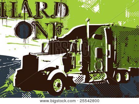 Big artistic truck. Vector illustration.