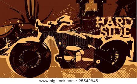 Retro poster with motor-bike. Vector illustration.