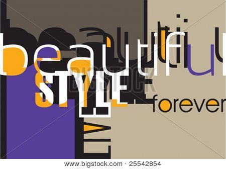 Designed background with typography. Vector illustration.