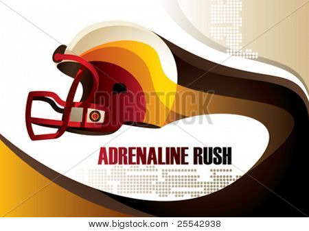 Football helmet poster. Vector illustration.