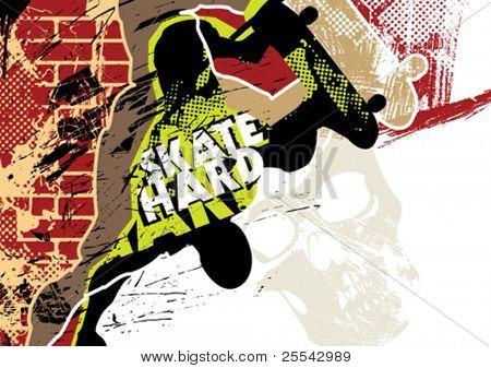 Skateboard Poster mit Grunge hintergrund. Vektor-Illustration.