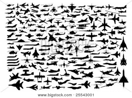 Aircrafts isolated on white. Vector illustration.