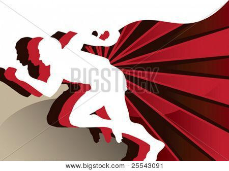 Abstract poster with runners. Vector illustration.