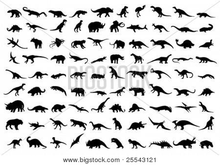 Dinosaur silhouettes isolated on white. Vector illustration.