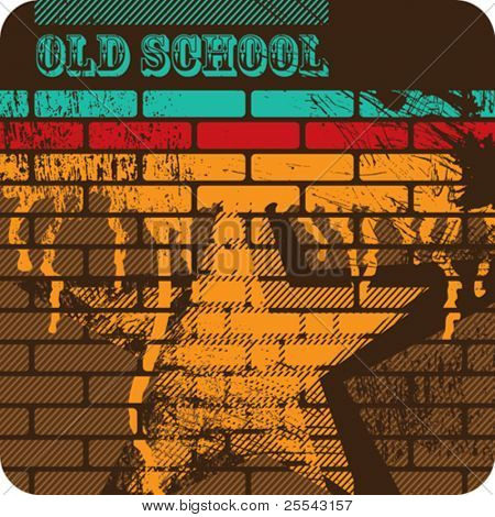 Retro artistic brick wall. Vector illustration.
